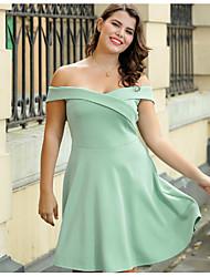 cheap -Sweet Curve Women's Slim A Line Dress Boat Neck / Summer