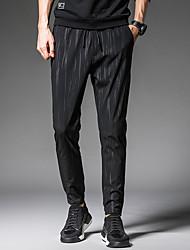 cheap -Men's Active Plus Size Cotton / Linen Harem Pants - Solid Colored / Polka Dot Black & Red, Pleated