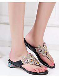 cheap -Women's Shoes Nappa Leather Summer Comfort Slippers & Flip-Flops Low Heel Black