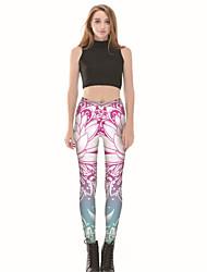 cheap -Women's Basic Legging - Floral Mid Waist