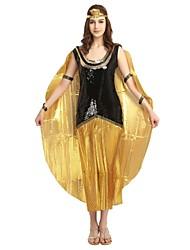baratos -Fantasias Egípcias Ocasiões Especiais Mulheres Adulto Colegial Dia Das Bruxas Dia Das Bruxas Carnaval Baile de Máscaras Festival / Celebração Roupa Dourado Sólido Halloween