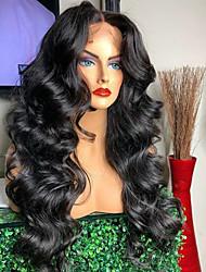 Недорогие -Не подвергавшиеся окрашиванию 360 Лобовой Парик Глубокое разделение Свободная часть Kardashian стиль Бразильские волосы Волнистый Черный Парик 150% 180% Плотность волос / с детскими волосами