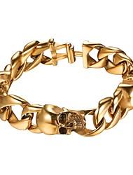 cheap -Men's Link / Chain Bracelet - Stainless Steel Skull Fashion Bracelet Gold / Black / Silver For Gift / Street