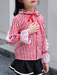cheap -Kids Girls' Active / Street chic Going out Plaid / Patchwork Lace Long Sleeve Shirt