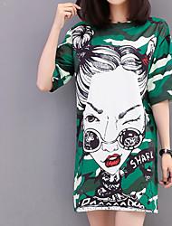 baratos -Mulheres Camiseta Estampado, camuflagem / Letra / Retrato