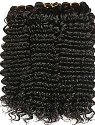 Недорогие -3 Связки Бразильские волосы Крупные кудри 8A Натуральные волосы Удлинитель Накладки из натуральных волос 8-28 дюймовый Черный Естественный цвет Ткет человеческих волос Машинное плетение