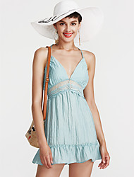 cheap -Women's Going out Slim Swing Dress - Solid Colored Mini Deep V / Summer / Ruffle
