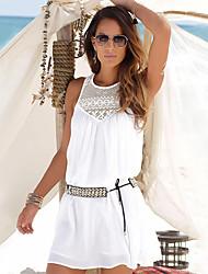 baratos -Mulheres Para Noite / Praia Básico Solto Rodado Vestido Acima do Joelho / Primavera / Verão