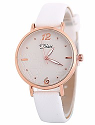 cheap -Women's Dress Watch Wrist Watch Quartz Casual Watch Large Dial PU Band Analog Casual Minimalist Black / White / Brown - Brown Pink Light Blue One Year Battery Life