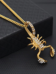 cheap -Men's Cubic Zirconia Cuban Link Pendant Necklace / Chain Necklace - Stainless Scorpion Statement, European, Hip-Hop Cool Gold 60 cm Necklace Jewelry 1pc For Street, Bar