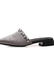 abordables -Mujer Zapatos Piel de Oveja Primavera verano Confort Zuecos y pantuflas Tacón Cuadrado Dedo Puntiagudo Pedrería Negro / Plateado