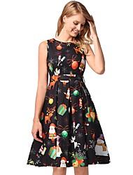 cheap -Women's Basic A Line / Sheath / Skater Dress - Floral / Geometric / Rainbow Black & Red, Bow