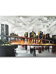 cheap -STYLEDECOR Modern Hand Painted Abstract A Bridge in The Gray City Oil Painting on Canvas for Wall Art
