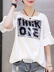 baratos -t-shirt de algodão / linho de senhora - carta em volta do pescoço
