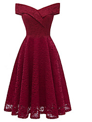 cheap -Women's Vintage Sheath Dress - Solid Colored Lace