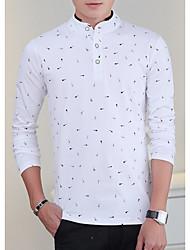 billige -Høj krave Herre - Blomstret Bomuld T-shirt