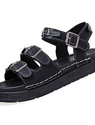 baratos -Mulheres Sapatos Couro Ecológico Verão Conforto Sandálias Creepers Ponta Redonda Branco / Preto