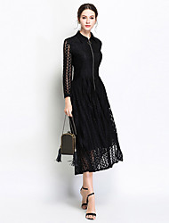 cheap -Women's Sophisticated / Elegant Swing Dress - Solid Colored / Houndstooth / Check Lace