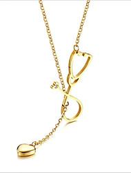 お買い得  -女性用 ロング丈 ストランドネックレス / ネックレス  -  18Kゴールドメッキ, チタン鋼 ゴールド, シルバー 55.5 cm ネックレス 1個 用途 結婚式, 日常