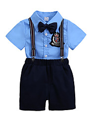 Недорогие -Дети Мальчики Тигр Однотонный С короткими рукавами Набор одежды