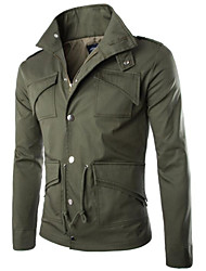 cheap -Men's Jacket - Solid Colored Shirt Collar / Long Sleeve