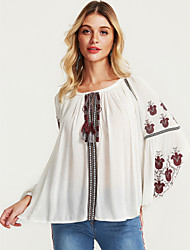 cheap -Women's Holiday Puff Sleeve Blouse V Neck