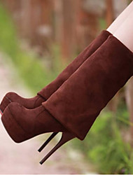 cheap -Women's Shoes Suede Fall & Winter Slingback / Fashion Boots Boots Stiletto Heel Closed Toe Over The Knee Boots Black / Brown / Almond / Party & Evening