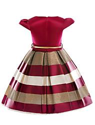 Недорогие -Дети Девочки Тропический лист Полоски С короткими рукавами Платье