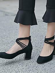 abordables -Mujer Zapatos Piel de Oveja Primavera / Otoño Pump Básico Tacones Tacón Cuadrado Dedo cuadrada Negro / Almendra