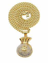 baratos -Homens Zircônia Cubica Fashion Colares Declaração / Colar longo - Inoxidável Dólares Estiloso, Na moda, Rock Dourado 6.5*3.2+0.5*70 cm Colar 1pç Para Rua, Feriado