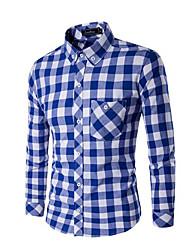 cheap -men's shirt - check shirt collar