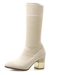 abordables -Mujer Zapatos Punto Otoño invierno botas slouch Botas Tacón Cuadrado Dedo redondo Mitad de Gemelo Negro / Almendra