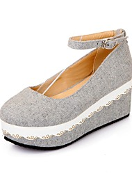 cheap -Women's Shoes Linen Spring & Summer Comfort Sneakers Wedge Heel Light Grey / Khaki