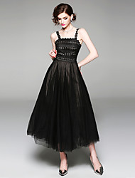 cheap -SHIHUATANG Women's Vintage / Sophisticated A Line / Little Black / Swing Dress - Solid Colored Lace / Mesh