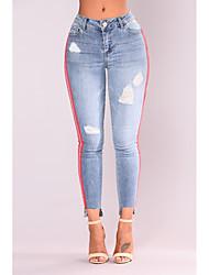 economico -Per donna Attivo Jeans Pantaloni - Tinta unita Blu e bianco