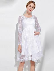 baratos -Mulheres Vintage / Sofisticado Evasê Vestido - Renda / Com Miçangas, Sólido Altura dos Joelhos