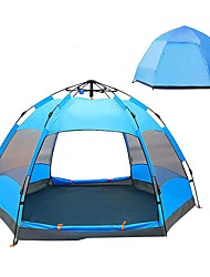 cheap -4 person Family Tent Double Layered Automatic Camping Tent Outdoor Rain-Proof, UV resistant, UPF50+ for Camping / Hiking / Caving 2000-3000 mm PU Leather 240*240*135 cm