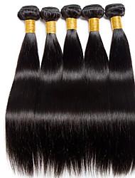 Недорогие -6 Связок Индийские волосы Прямой Натуральные волосы Человека ткет Волосы One Pack Solution Накладки из натуральных волос 8-28 дюймовый Естественный цвет Ткет человеческих волос / 8A