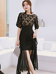 cheap -Women's Street chic / Elegant Sheath / Little Black Dress - Solid Colored Lace / Cut Out / Patchwork