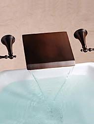 abordables -Robinet lavabo - Jet pluie Bronze huilé Montage mural Deux poignées trois trous