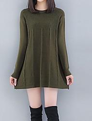 Недорогие -Жен. Уличный стиль / Изысканный Пуловер - Однотонный