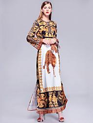 tanie -Damskie Wyjściowe Plaża Vintage Moda miejska Bawełna Luźna Jalabiya Sukienka Nadruk Maxi