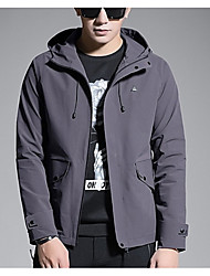 cheap -Men's Street chic / Military Jacket - Solid Colored
