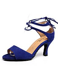 cheap -Women's Latin Shoes Suede Heel Slim High Heel Dance Shoes Red / Blue