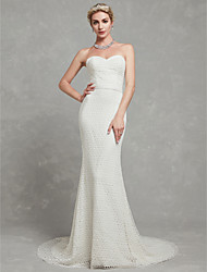 cheap -A-Line Strapless Chapel Train Lace / Tulle Made-To-Measure Wedding Dresses with Lace by LAN TING BRIDE®