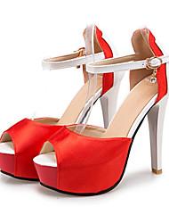 abordables -Femme Chaussures Polyuréthane Automne hiver Bride de Cheville Sandales Talon Aiguille Bout ouvert Boucle Blanc / Noir / Rouge / Soirée & Evénement