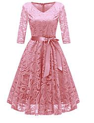 Недорогие -Жен. Для вечеринок На выход Винтаж 1950-е года А-силуэт Платье Кружева Бант V-образный вырез До колена Пыльная роза
