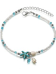 baratos -Fio Único tornozeleira - Resina Estrela do Mar Na moda, Romântico, Doce Azul Para Presente / Para Noite / Mulheres