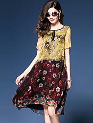 baratos -Mulheres Boho Chifon / balanço Vestido - Estampado, Floral Altura dos Joelhos