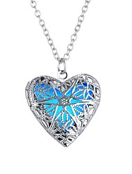 cheap -Women's Luminous Stone Long Pendant Necklace - Heart Vintage, Ethnic, Fashion Blue 61 cm Necklace 1pc For Halloween, Club